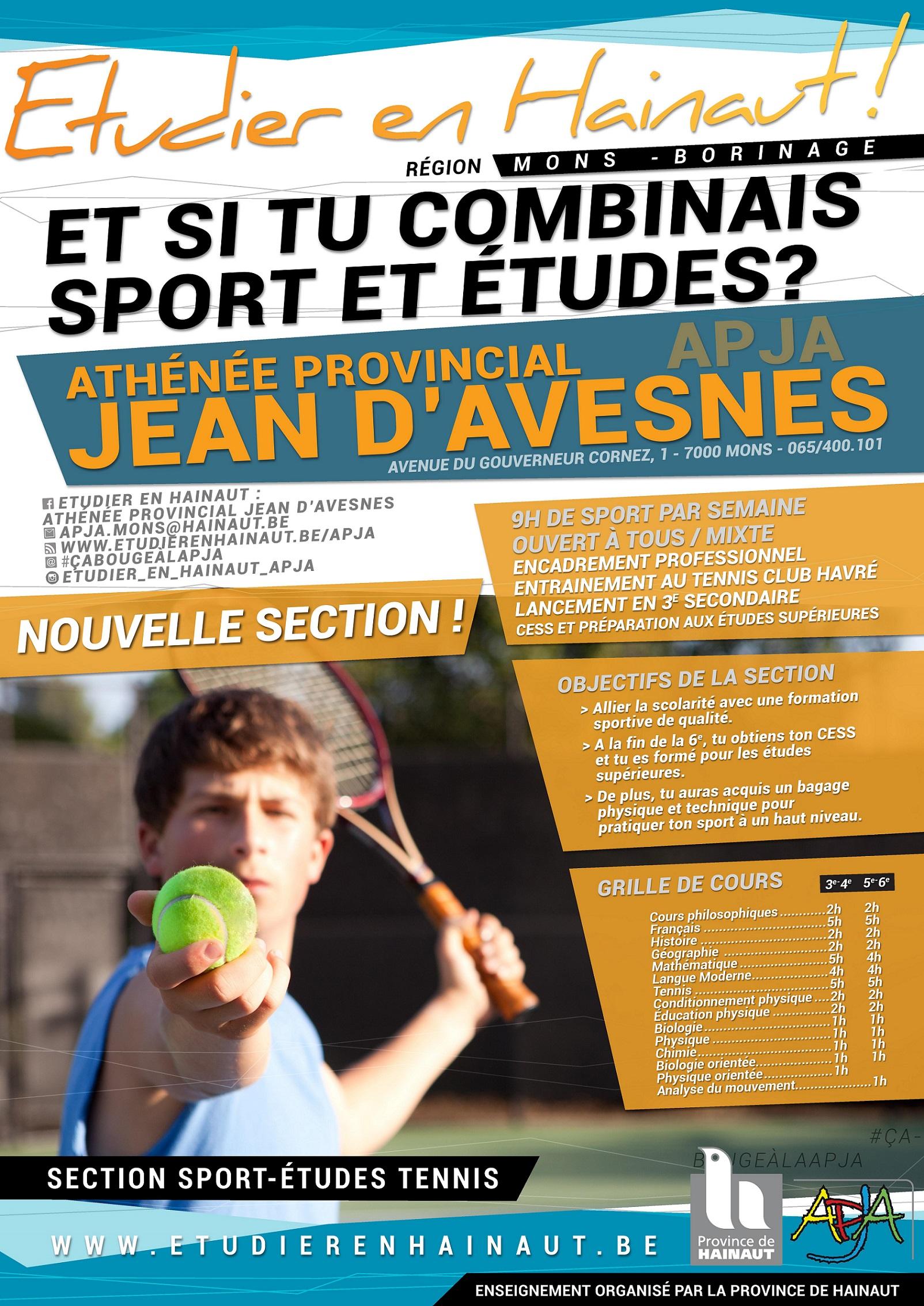 Le Sport-Études Tennis, c'est à l'APJA !