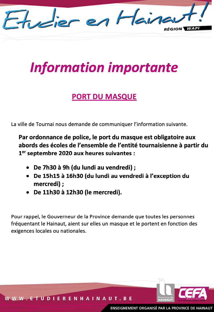 information importante CEFA