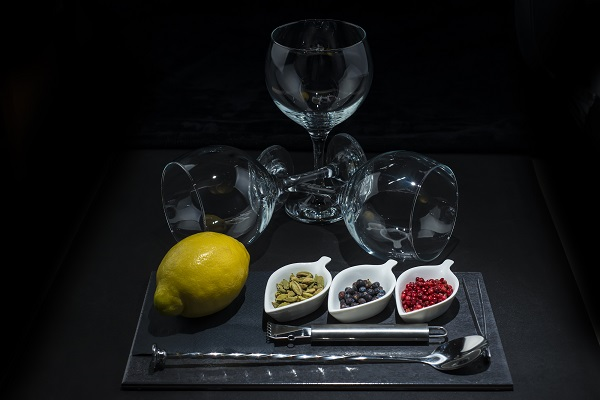 Utensils and ingredients to prepare and garnish a gin and  tonic