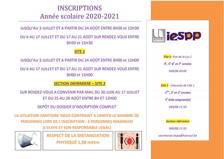 Inscriptions année scolaire 2020-2021