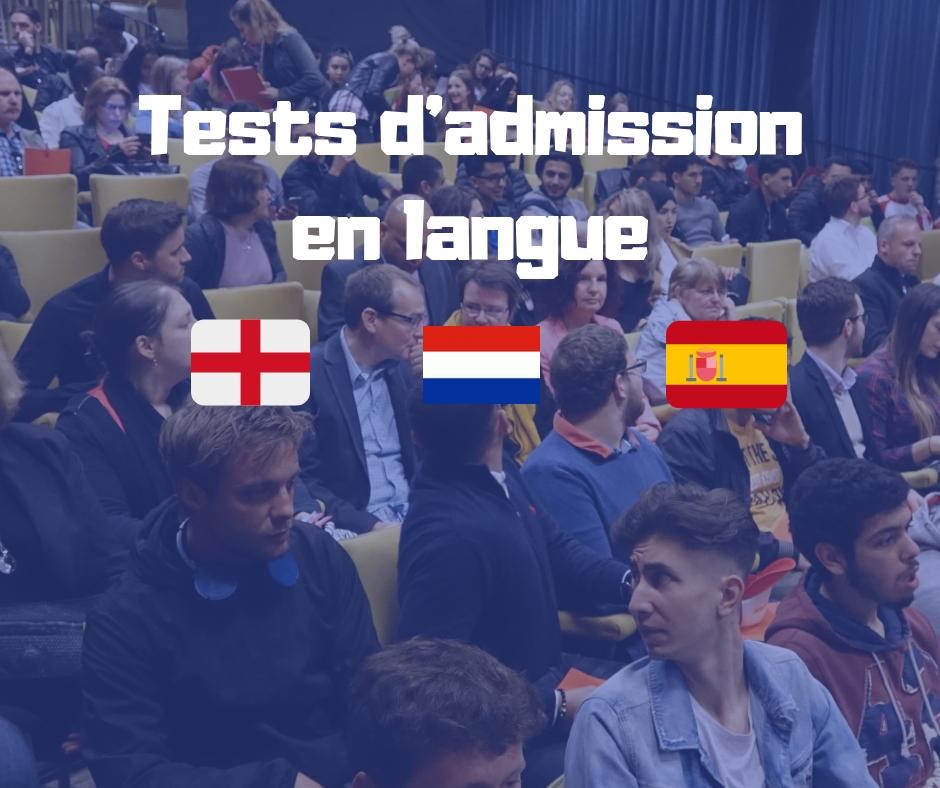 TESTS D'ADMISSION EN LANGUE & 2ème SESSIONS