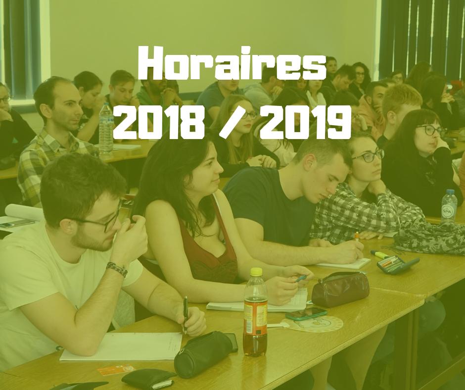 Horaires IETCPS - 2018/2019 - Actualisés
