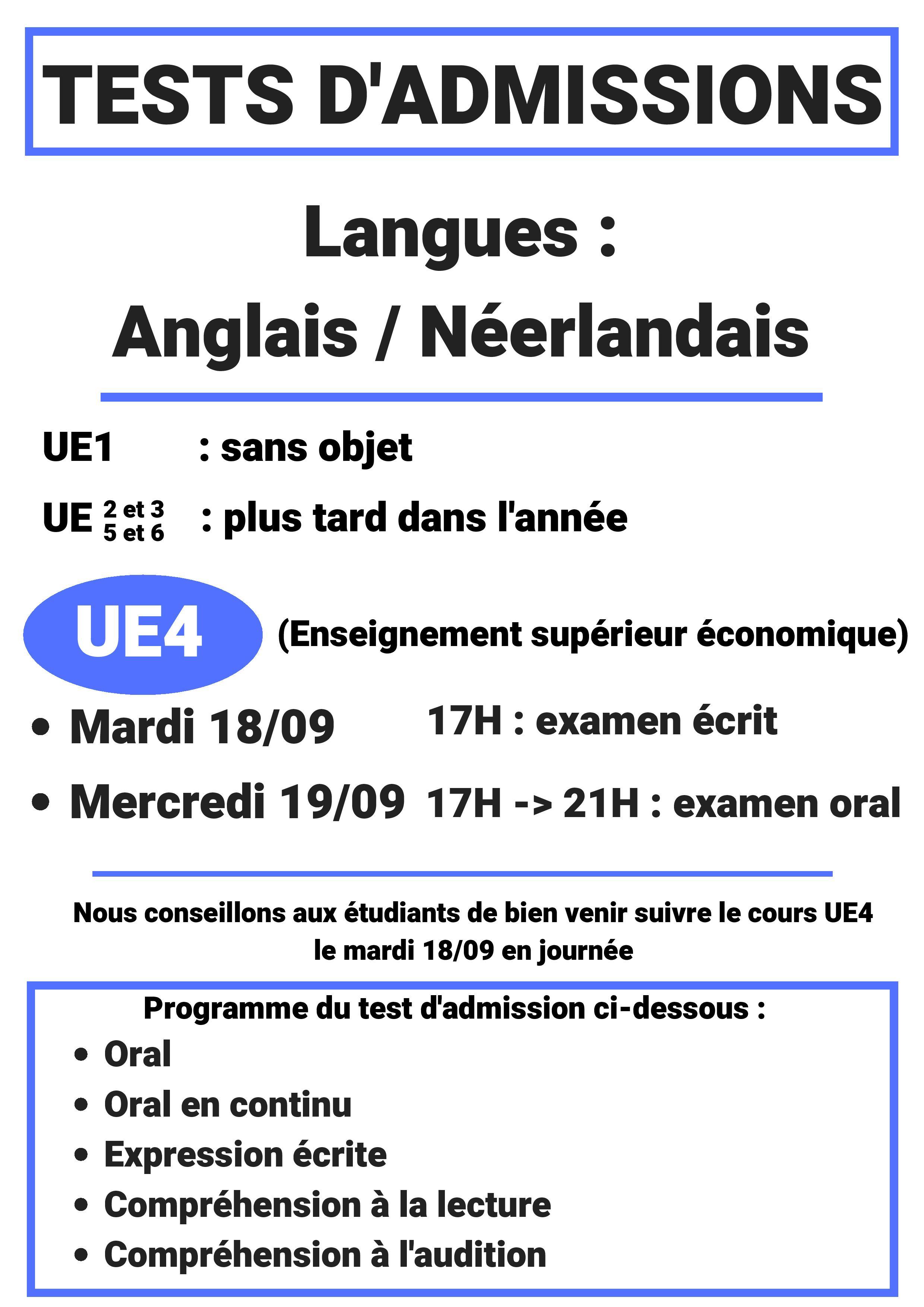 Informations relatives aux tests d'admissions en Langue