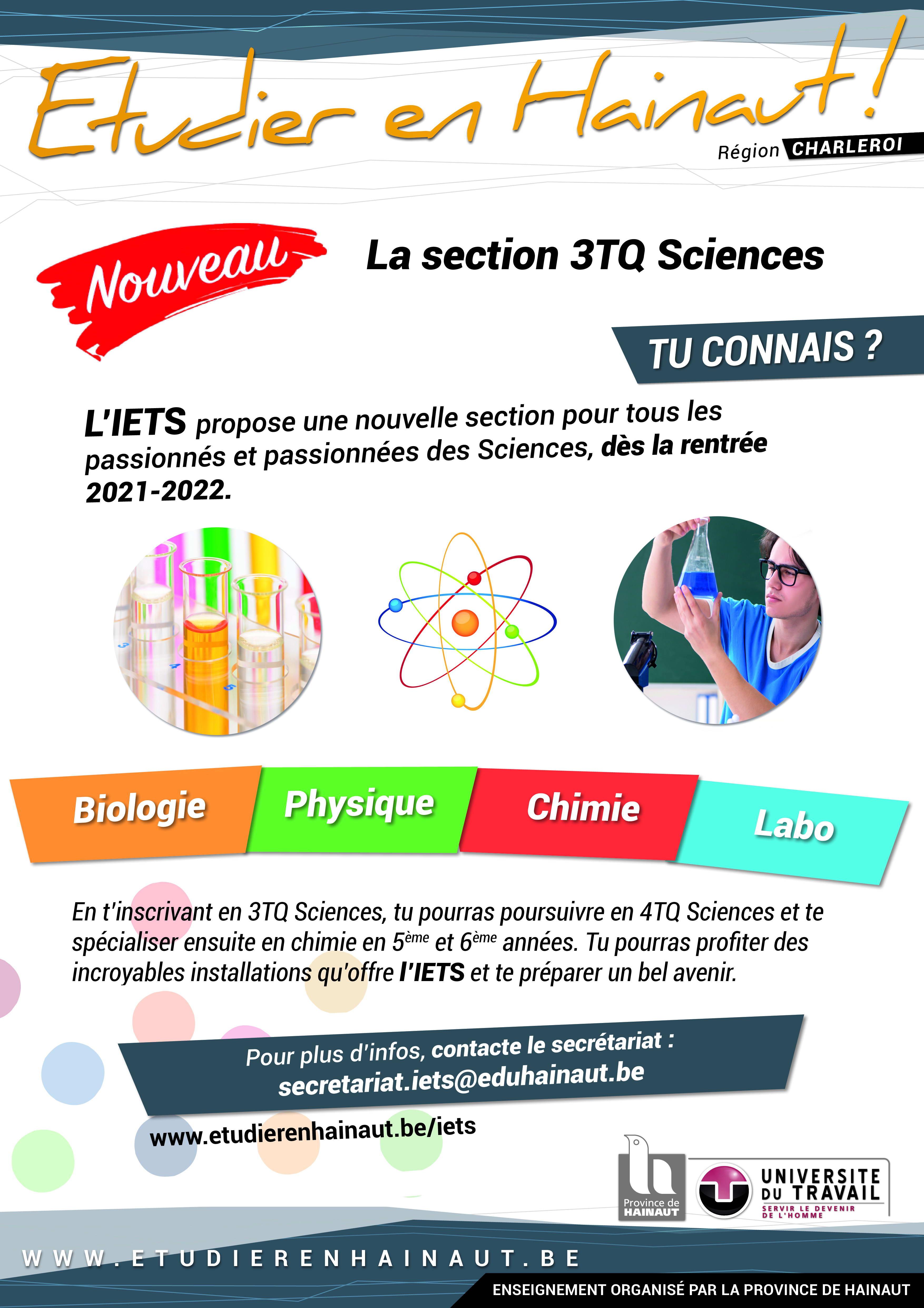 Tu aimes les sciences? A l'IETS, une nouvelle section s'ouvre pour toi!