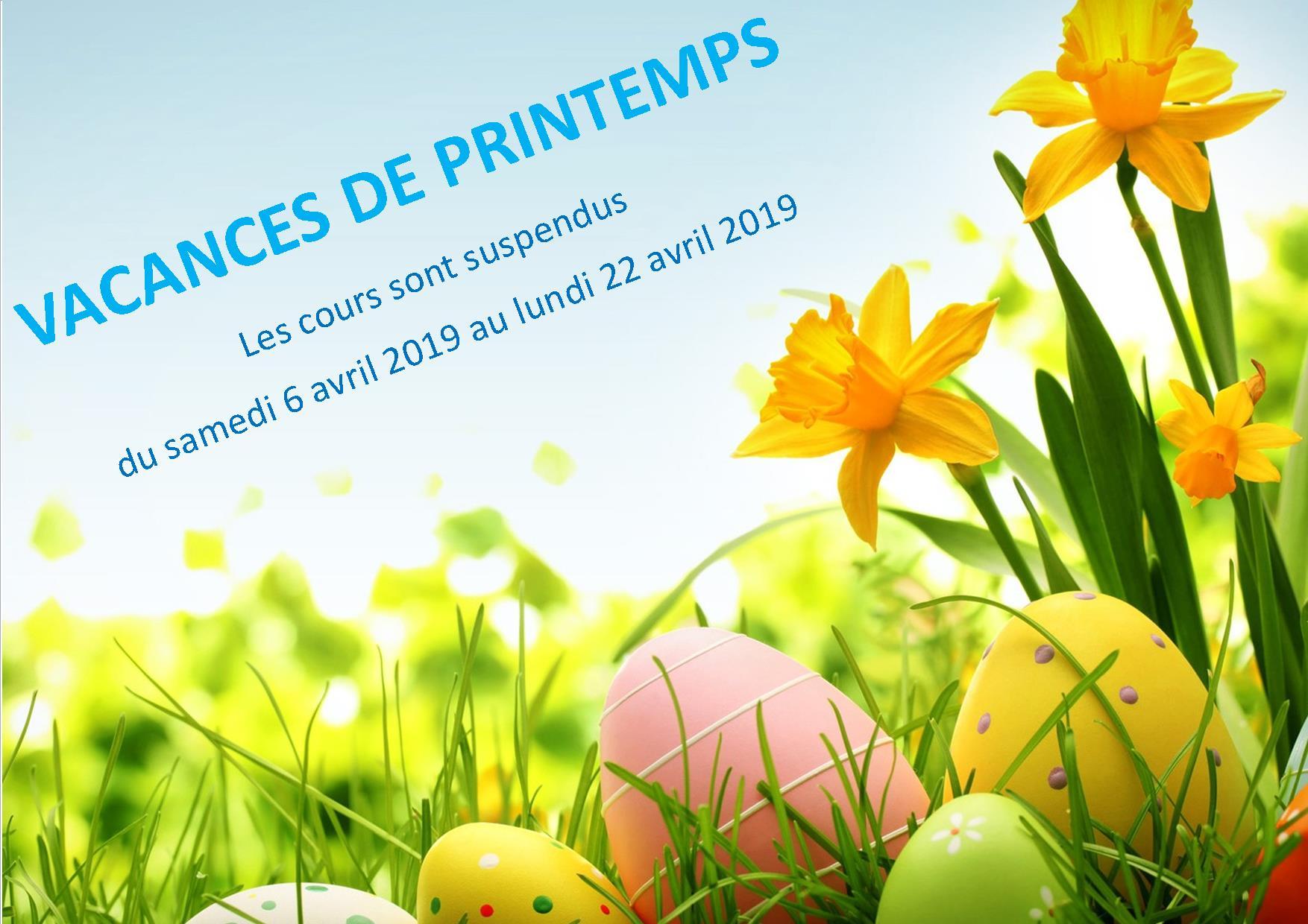 Vacances printemps-Cours suspendus