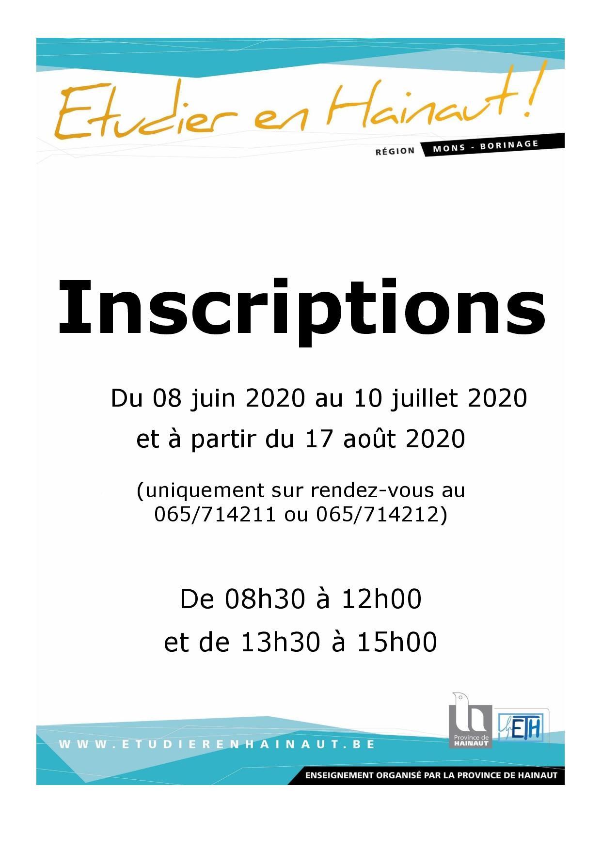 Inscriptions année scolaire 2020 - 2021