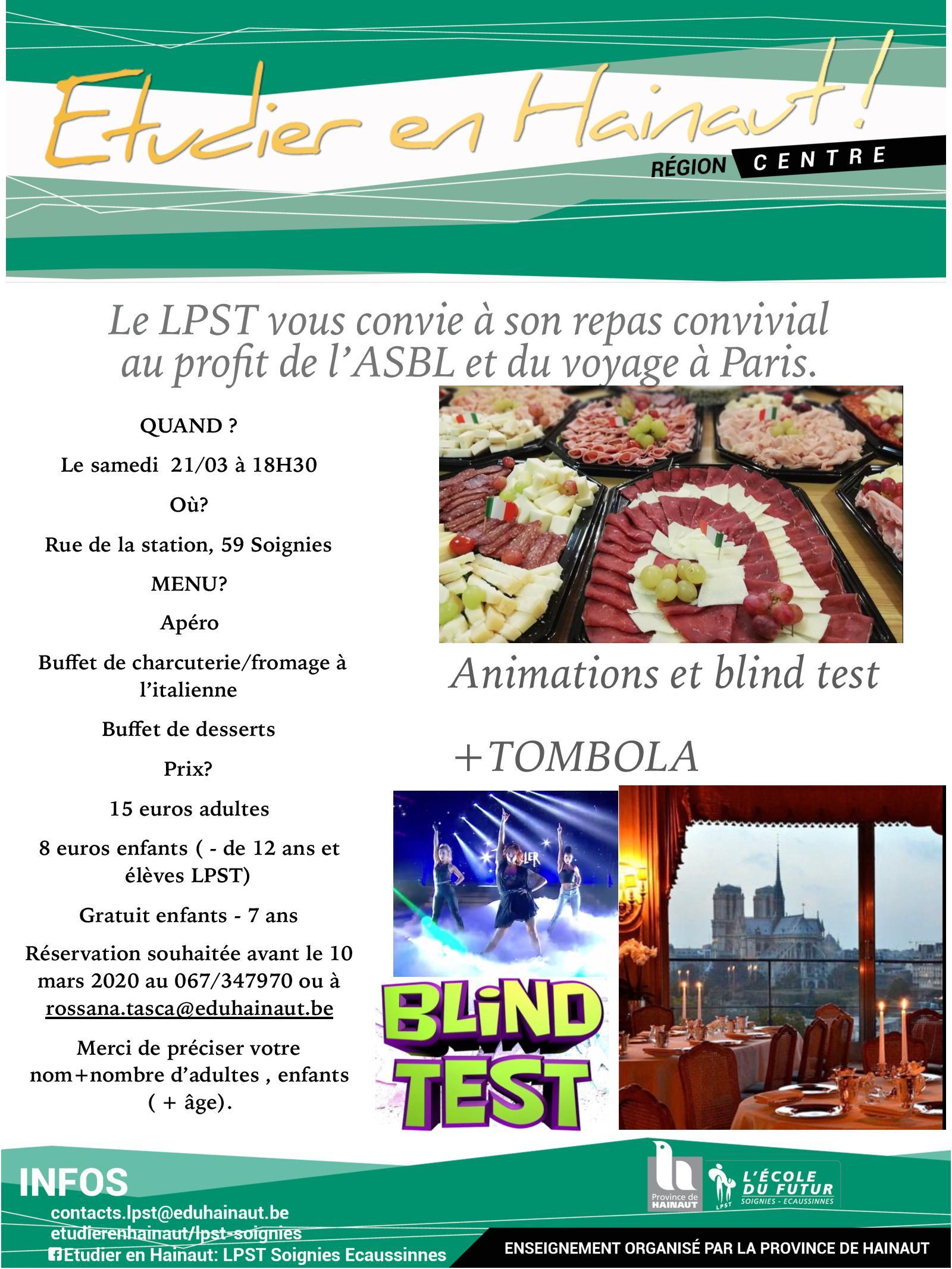 Souper convivial au profit de l'ASBL et du voyage à Paris