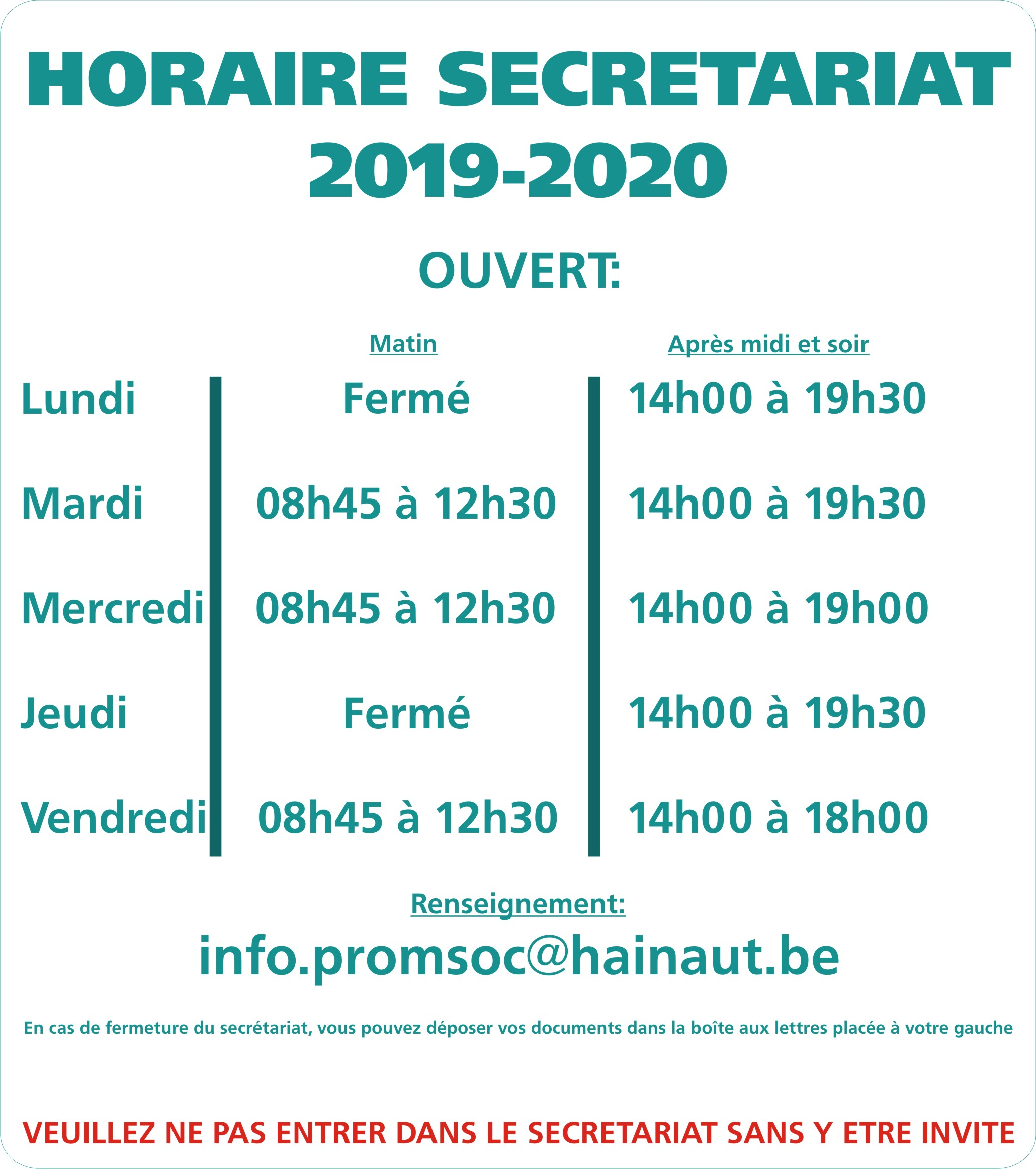 horaires 2019 11
